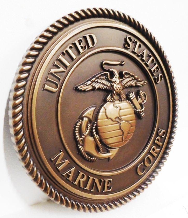 V31409A - Carved  Wall Plaque of the Emblem of the US Marine Corps,  Plated with Bronze Metal.