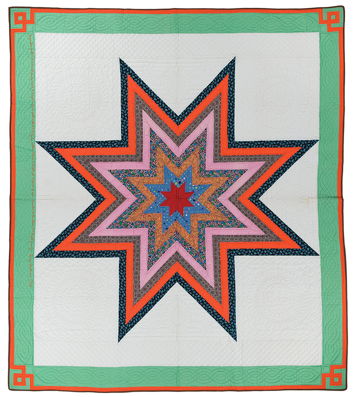 """Large Star, machine pieced by Ernest B. Haight, c. 1961, hand quilted by Flora Burr Haight, c. 1961, 90"""" x 78.75"""", loaned by Elmer and Darlene Haight and family"""