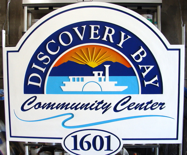 F15027 - Carved HDU Entrance Sign for Discovery Bay Community Center.