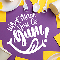 What Made You Tum Logo on Purple Background