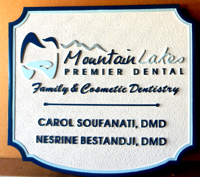 BA11587- Carved HDU Sign for Family and Cosmetic Dentistry with Carved Insignia of Tooth