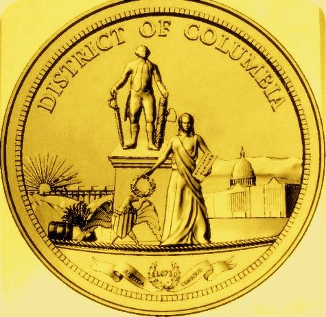 DP-1440 - Carved Plaque of the Seal of the District of Columbia, Painted Gold Metallic