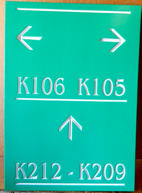 KA20916 - Carved HDU (Wood Available) Directional Sign for Location of Condominium or Apartment Unitsf
