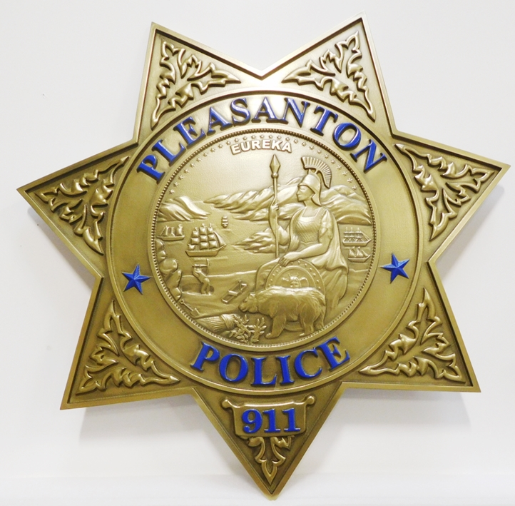 PP-1750 - Carved Plaque of the Star Badge of the Police Department of the City of Pleasanton, California, 3-D Artist-Painted