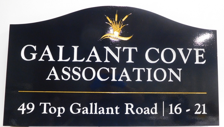 "K20360 - Carved Engraved HDU Entrance Sign  for   the ""Gallant Cove Association ""  Residential Community"