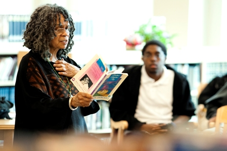 Sonia Sanchez shares her work with Carver High School (Montgomery) students as part of the Forum's Alabama Book Festival Community Outreach program. (Robin Cooper)