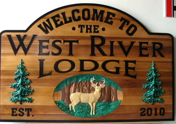 "T29082 - Carved Cedar Entrance Sign for ""West River Lodge"" with Deer and Fir Trees"