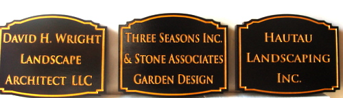 SA28539 - Three Carved HDU Signs for Landscaping, Landscape Architect  Companies
