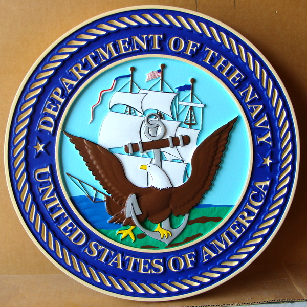 V31205 - Carved Wall plaque for Official navy Seal, with Frigate with Full Sails