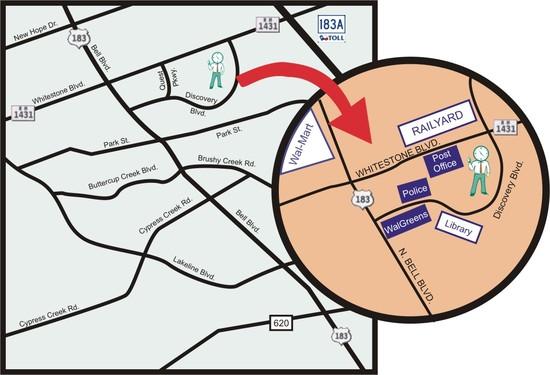 Minuteman Press Cedar Park Map