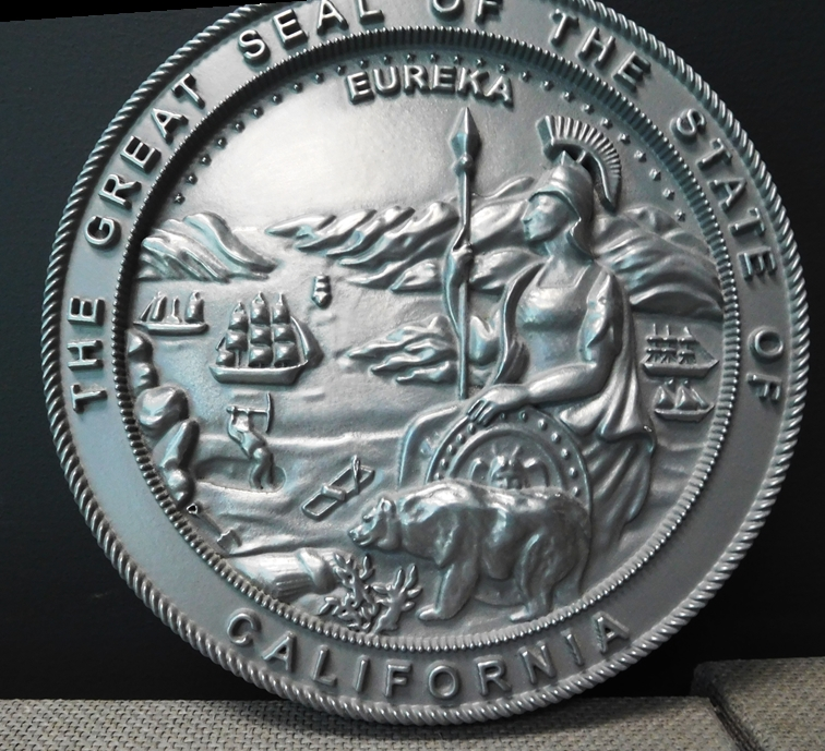 W32038- Large Carved 3-D Bas-Relief Silver-Nickel Coated Wall Plaque  of the Seal of the State of California, no Patina