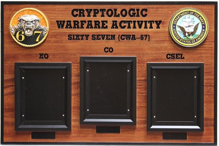SA1380 - Chain-of-Command Photo  Board for the Cryptologic Warfare Activity Sixty-Seven of the US Navy