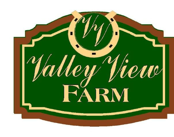 O24255 - Design of Sign for Valley View Farm with Logo of Initials and Horseshoe