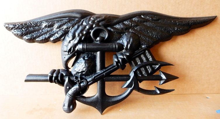 V31266 - Carved 3-D Badge for US Navy Seals, with Eagle, Anchor and Trident