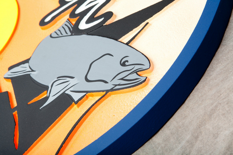 L21350 - Details of a Fish Carved in Coastal Residence Signs