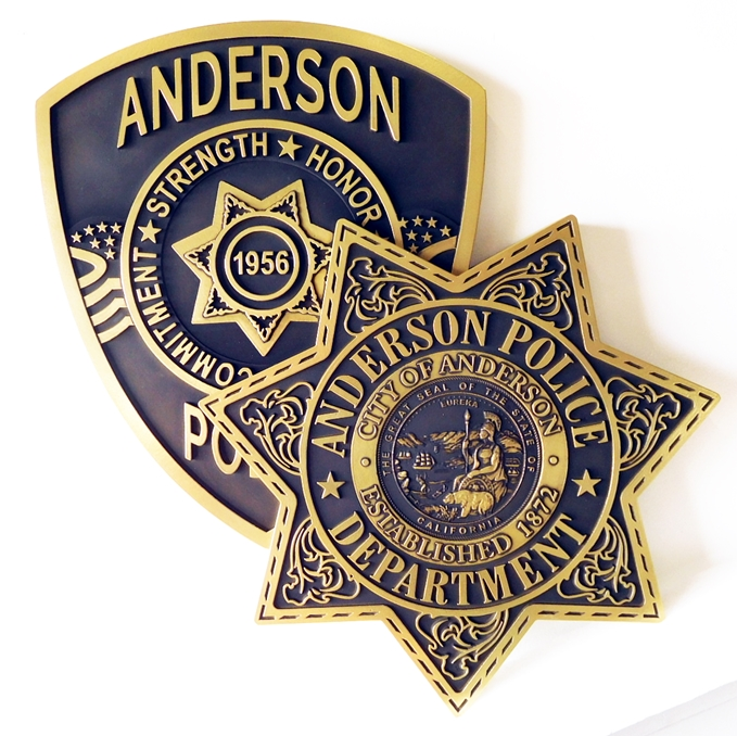 PP-1905 - Carved Plaque of the Star Badge and Shoulder Patch of the Police Department, City of Anderson, California