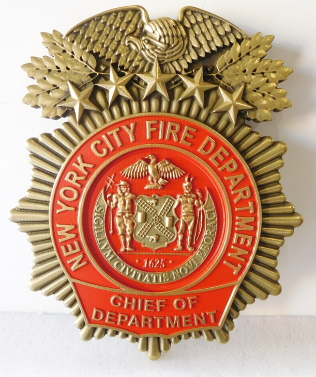 QP - 1030 - Carved Wall Plaque of the  Badge of  New York City Fire Marshal, Brass Plated, Hand-Rubbed Black, Red Enamel Painted