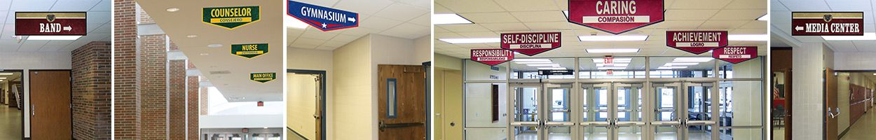5 pictures school banners to show location, school navigation, custom banners, bilingual