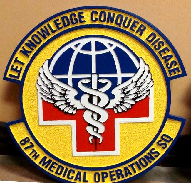V31564 -Wall Plaque of the Crest for the  Air Force 87th Medical Operations Squad