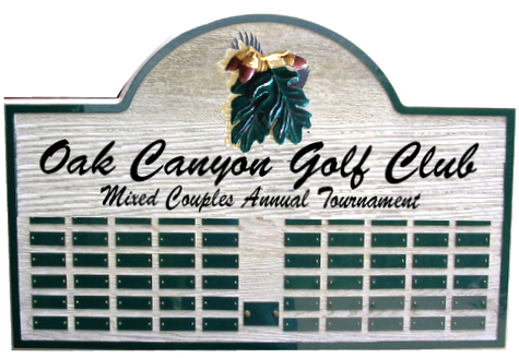 WP-3100 - Carved Perpetual Plaque  for  Oak Canyon  Golf Club President,  Artist Painted with Engraved Nameplates