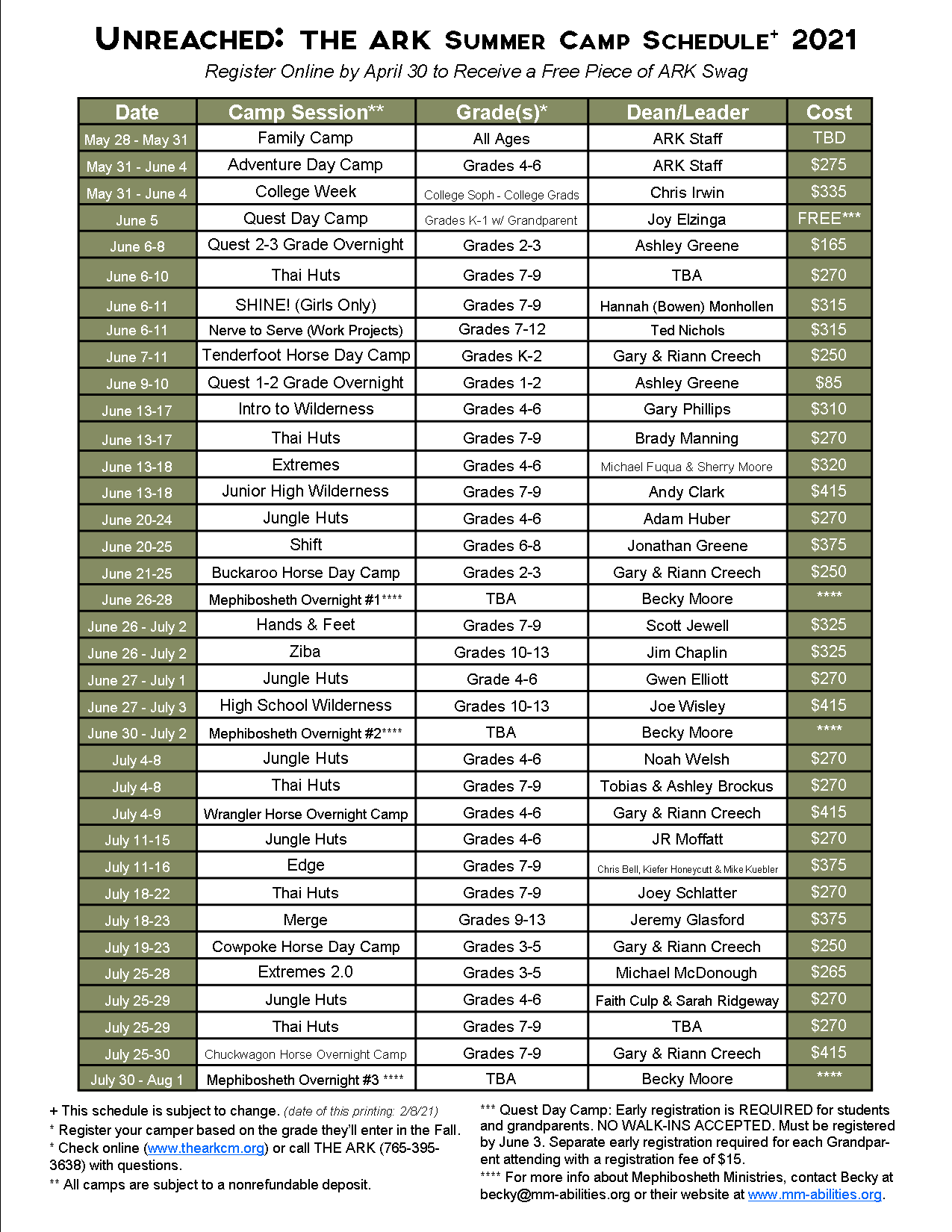 2021 Camp Schedule Full Page Size