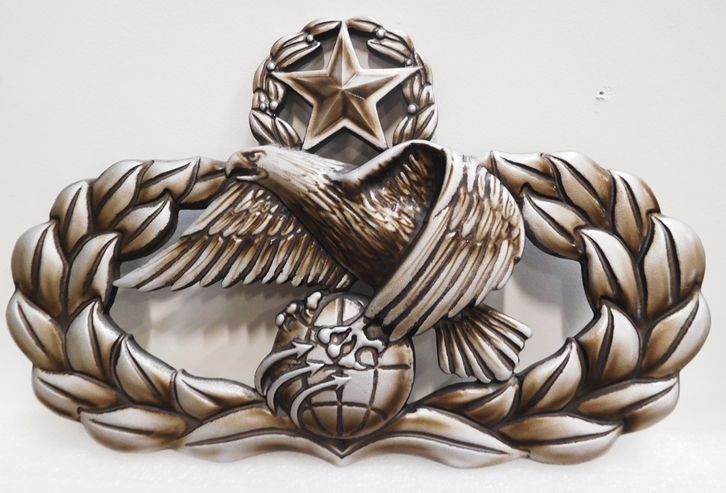 MP-1710 - Carved Plaque of US Army Star, Globe and Wreath  Emblem, 3-D Metallic Silver, Bronze and Black Paints