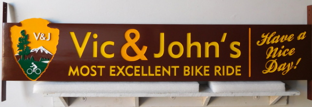 "G16038 - Carved HDU Sign for Bike Rental Shop with U.S. National Park Service Emblem, the ""Arrow"""
