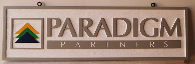 C12102 - Carved  Sign for Paradigm Financial Management Firm, 2.5-D Relief with Raised Text, Art  and Border