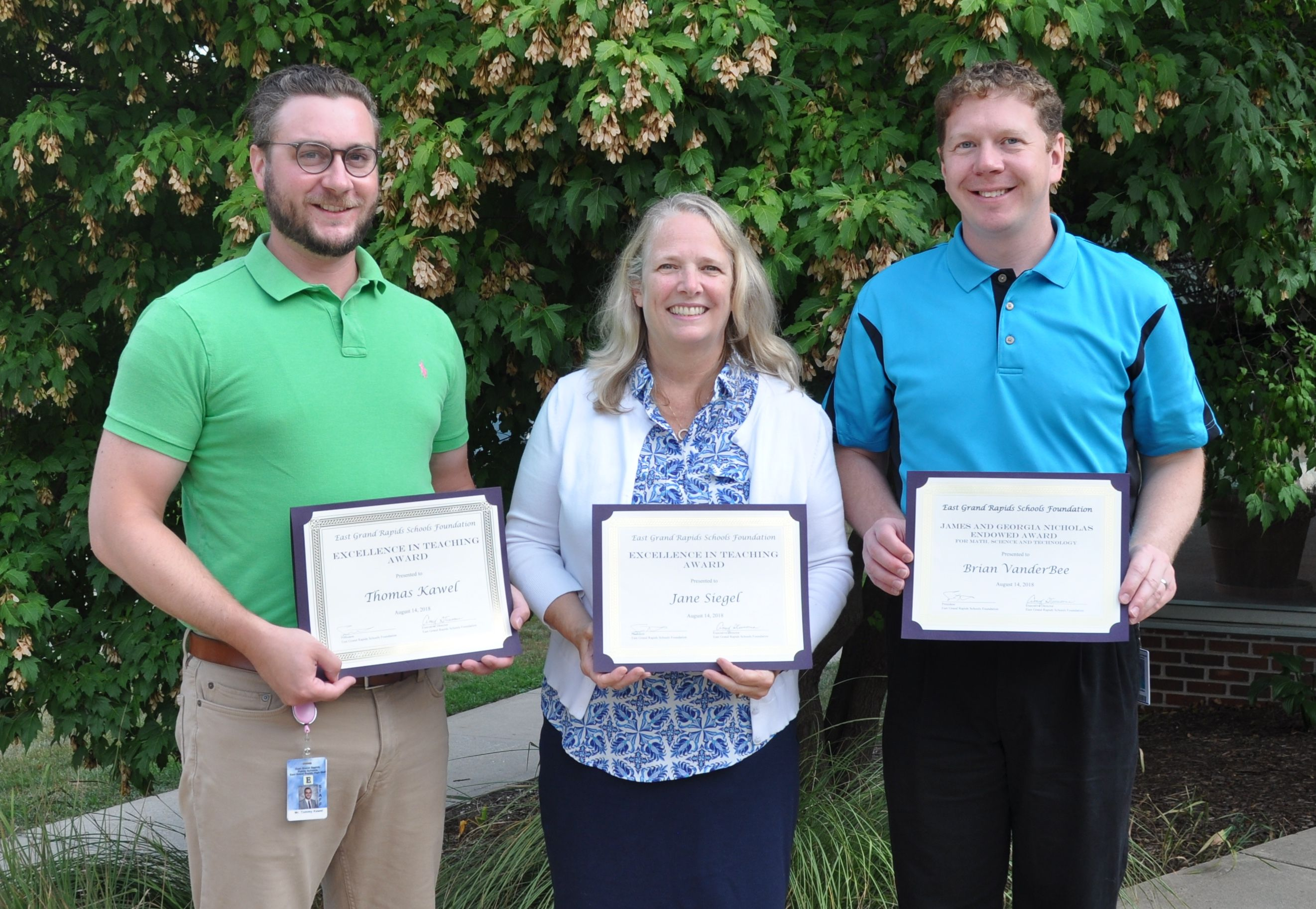 Excellence in Teaching, Nicholas Award Winners