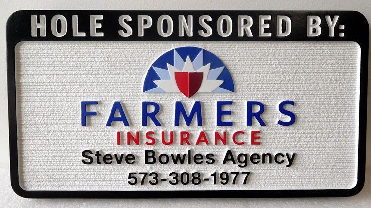 E14580 – Carved and Sandblasted Wood Grain  HDU Golf Hole Sponsor Sign, Famer's Insurance