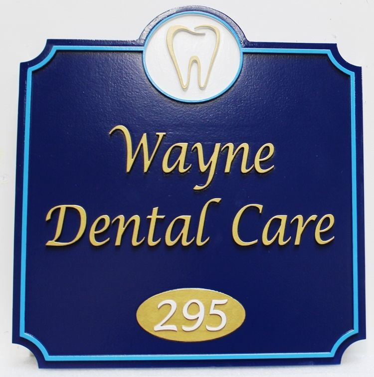 "BA11644 - Carved HDU Entrance Office Sign for ""Wayne Dental Care"", with A Molar as Artwork"