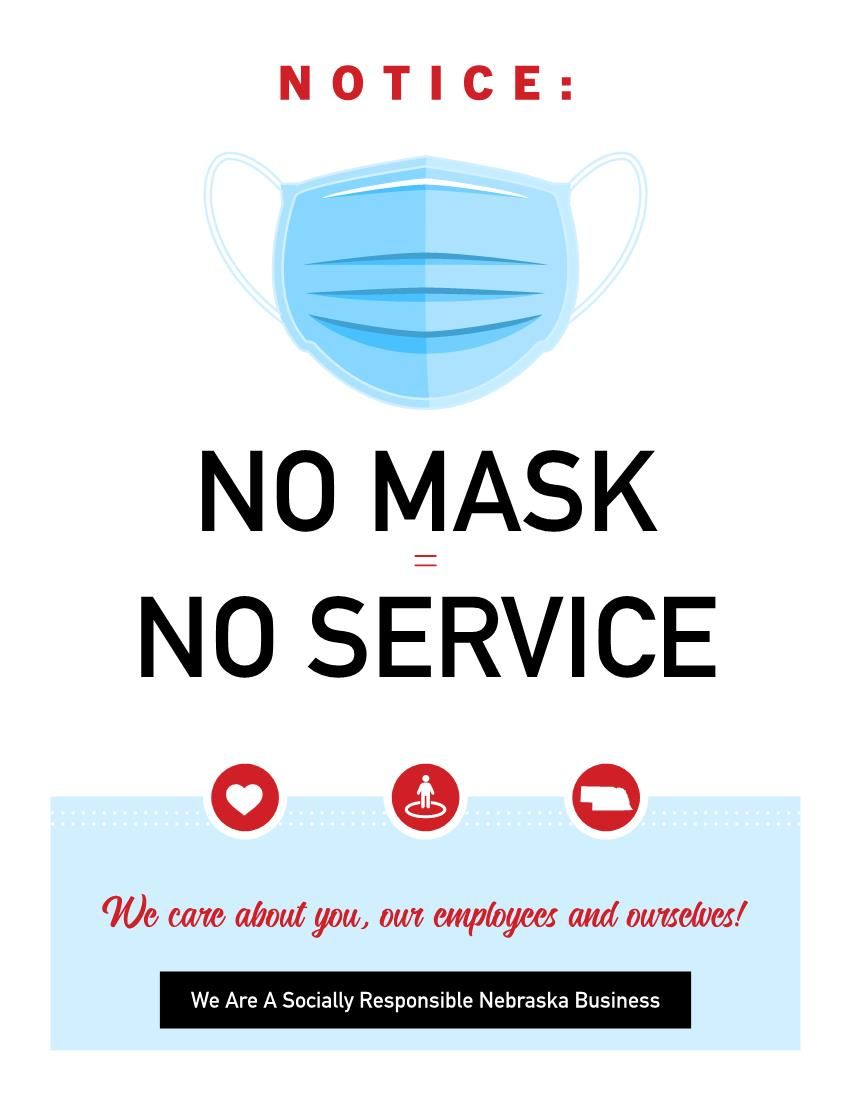 We Care, No Mask No Service 8.5 x 11 flyer