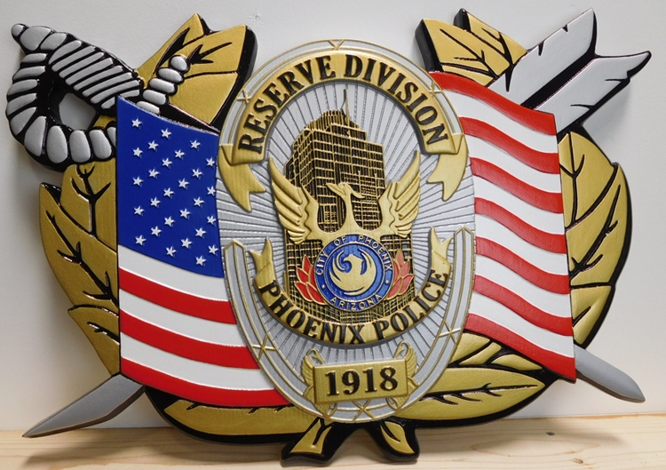 PP-1548 - Carved Plaque of the US Flag, Sword, Wreath and Badge of the Reserve Division of the Police of Phoenix, Arizona, Artist-Painted