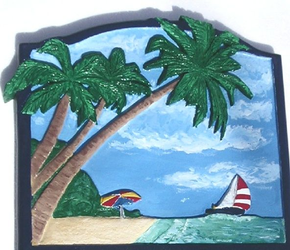 L21124 - Carved, Hand-Painted Sign of Beach, Ocean, Sky, Clouds, Sailboat and Mountains