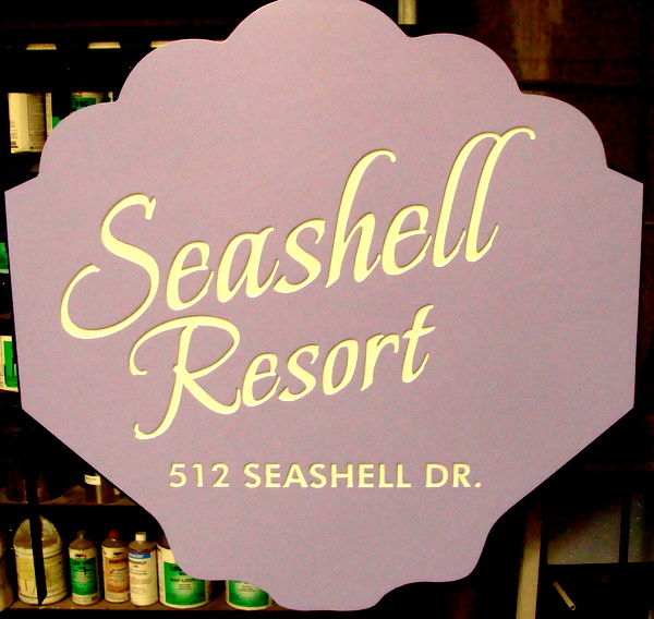 L21539 - Engraved HDU Seashell Sign for Beach Resort