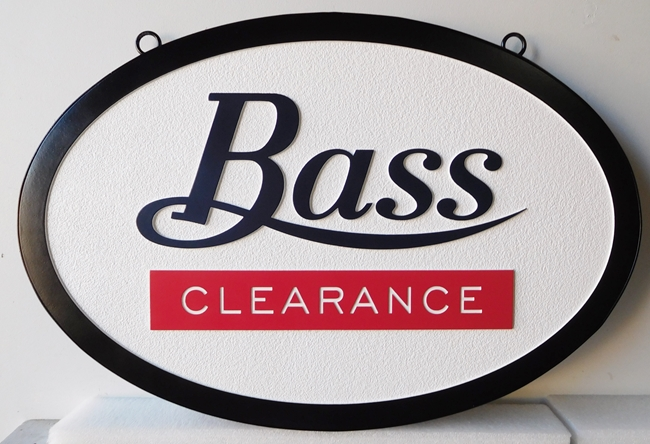"SA28446 - Carved and Sandblasted High Density Urethane (HDU) sign for the  ""Bass Clearance"" Store"