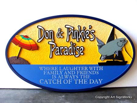 "L21346 - Seashore Home Sign ""Don and Pinkie's Paradise"" with Sailboat, Fish and Umbrella"