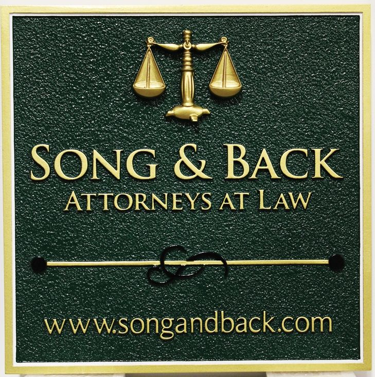 A10426 - Carved and Sandblasted  HDU entrance sign was made for the offices of Song & Back, Attorneys-at-Law, with 3D Scales of Justice.