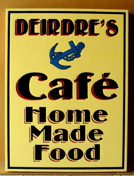 Q25172 - Design of Carved HDU Sign for Waterfront Cafe, Ship's Anchor