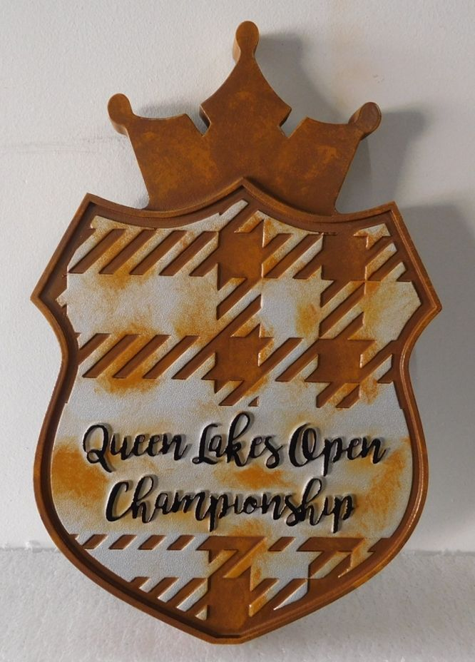 WP-1190 - Carved Plaque for Queen Lakes Open Golf Championship