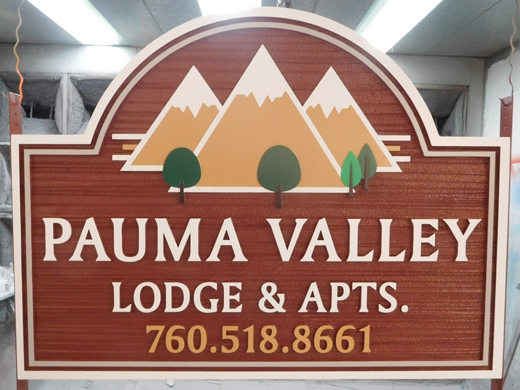"K20116 - Carved Pauma Valley Lodge & Apartments""  Sign, 2.5D  and Sandblasted in Wood Grain, and Artist-Painted"