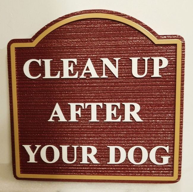 "GA16562 - Carved and Sandblasted Wood Grain High-Density-Urethane (HDU)  ""Clean Up After Your Dog"" Sign  for a City Park"