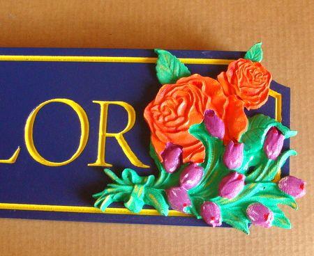 SA28314 - Detail of Carved Flowers for Sign SA28312