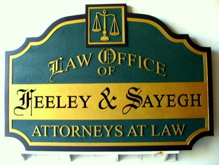 A10109 - Engraved and Carved Law Office Sign
