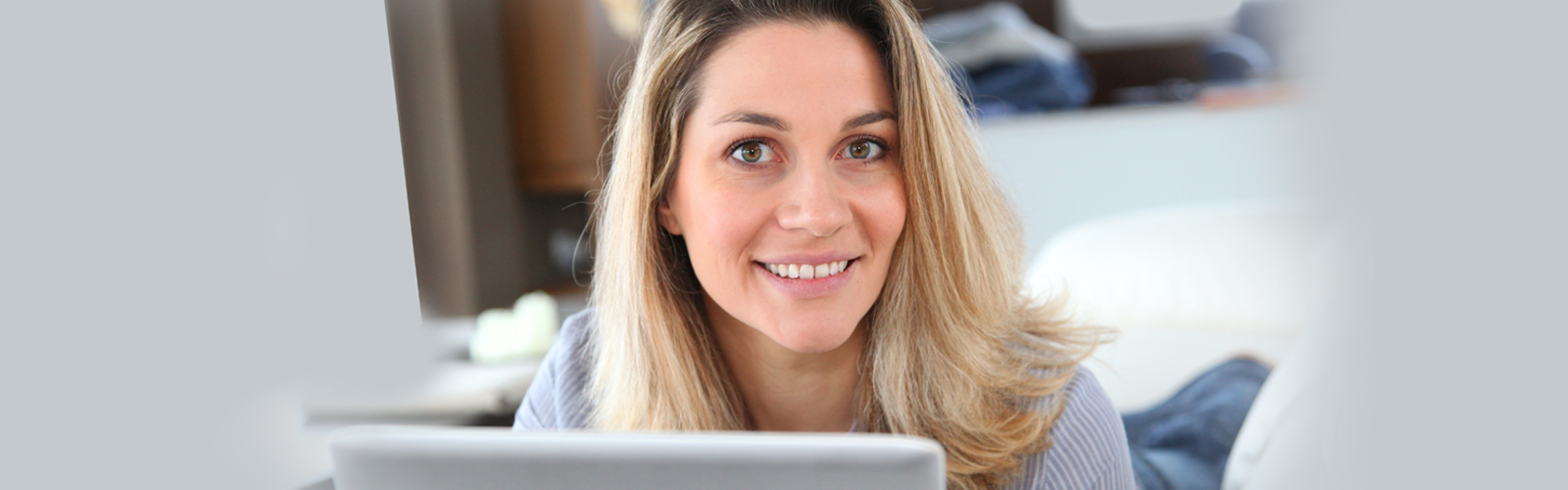 Woman at computer taking online training