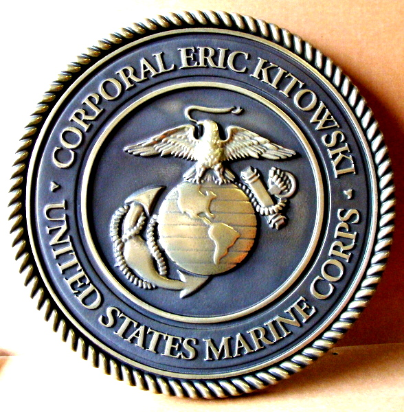 V31411 - Personalized Carved 3D Wall Plaque of the Great Seal of the United States Marine Corp (polished  bronze with dark patina background))