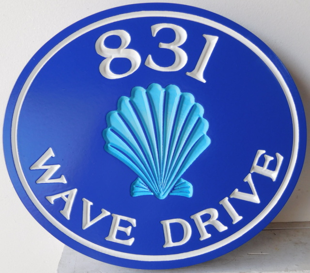 L21523 -- Engraved Coastal Residence Address Sign, with Recessed Seashell