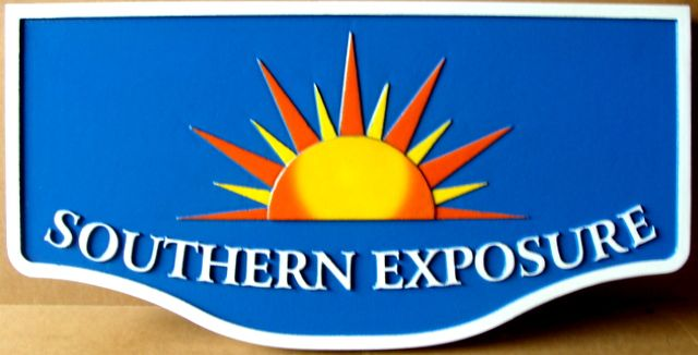 "L21209 - Seashore Home Property Name Sign ""Southern Exposure"" with Stylized Setting Sun"