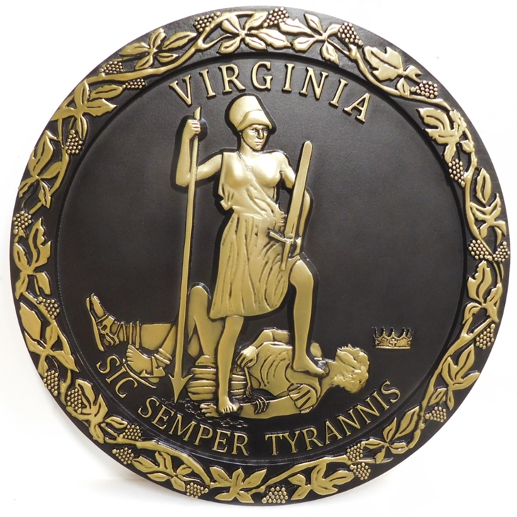 BP-1537- Carved Plaque of the Seal of the State of Virginia,  Brass-Plated