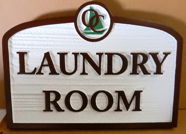 KA20616 - Carved Wood Look HDU Sign for Seaside Apartment Laundry Room